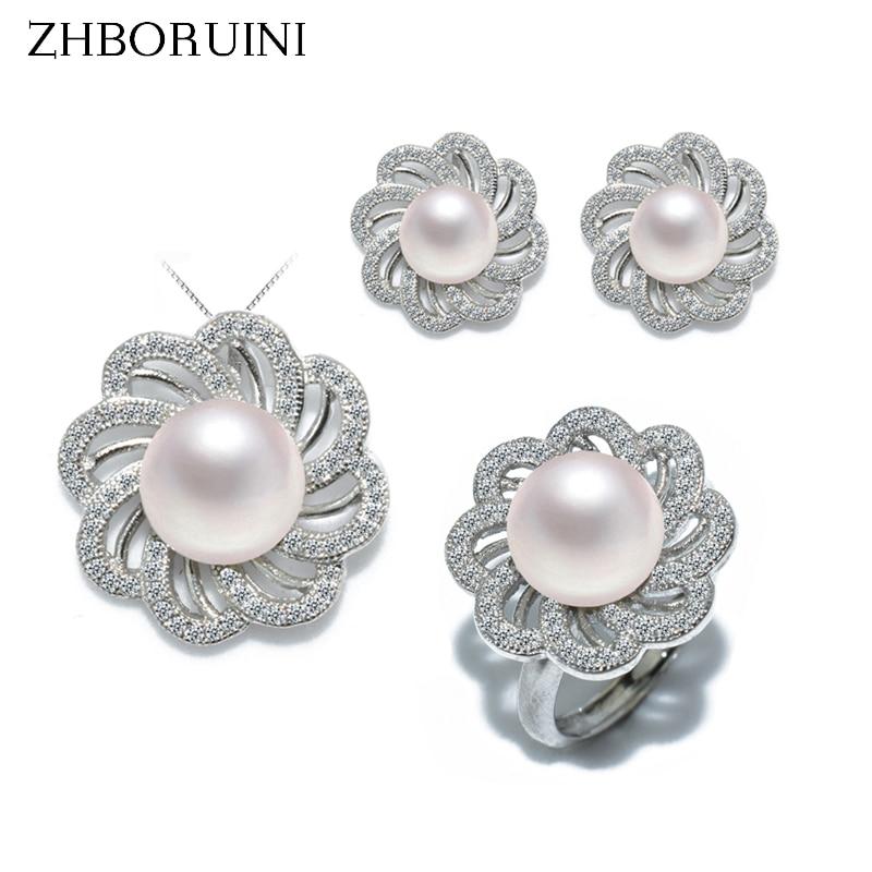 38e231590661 ZHBORUINI de moda conjunto de joyas de perlas naturales de agua dulce flor  collar pendientes anillo de la joyería de la plata esterlina 925 para  mujeres ...