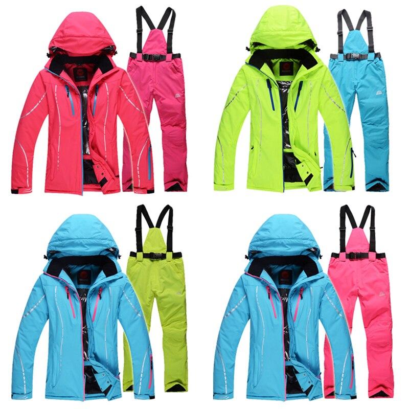 Prix pour 2016 Haute Qualité Femmes ski costumes vestes + pantalon, snowboard vêtements, snowboard ski veste Imperméable Respirant Résistant Au Vent