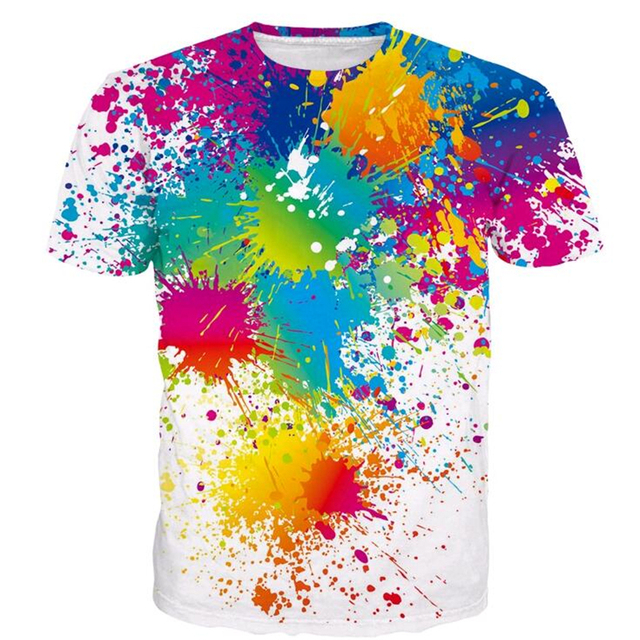 24577a6bff17f0 Paint Splatter Prints T Shirts Men Women Hipster Rainbow 3D T Shirt Male  Female Street Hippie T Shirts Harajuku Tees Tops
