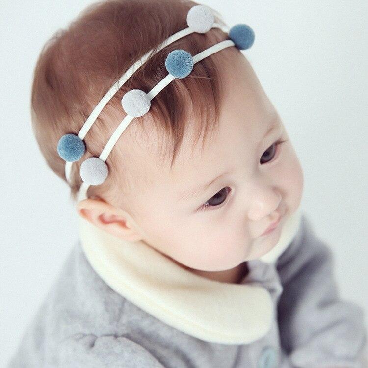 Boutique 10ks / 2C móda roztomilé barevné kuličky novorozence měkké vlasy hairbands Kawaii solidní pom pom čelenky princezna vlasy doplňky
