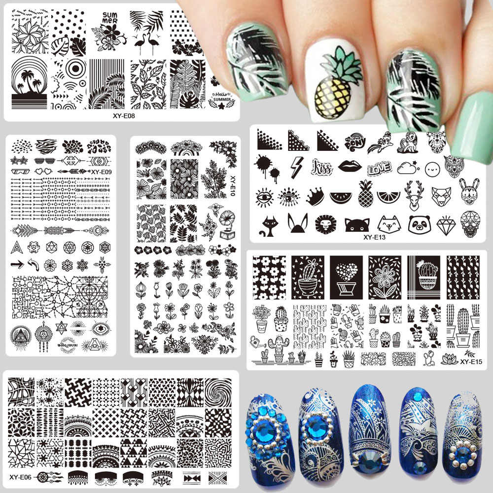 1X Nail Stamping Plates Fashion Flamingo Pineapple Cactus Flower Christmas Steel Stamp Template Nail Polish Stencils XYE01-16