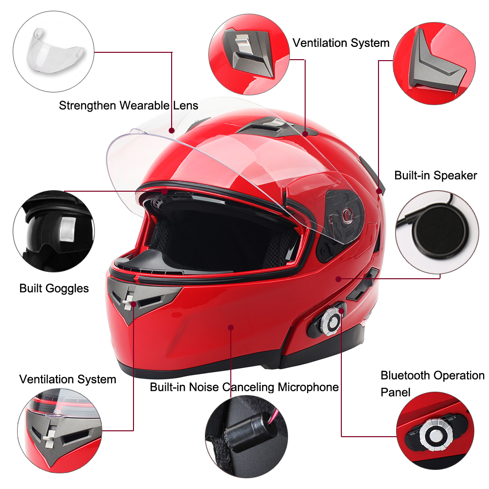 2017 FreedConn Smart Bluetooth Motorcycle Helmet Built in Intercom Device Support 2 riders Talking 500m and