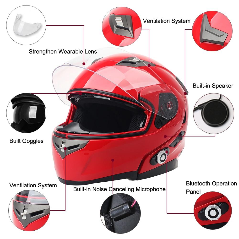 2017 FreedConn Smart Bluetooth Motorcycle Helmet Built in Intercom Device Support 2 riders Talking 500m and FM Dot Standard