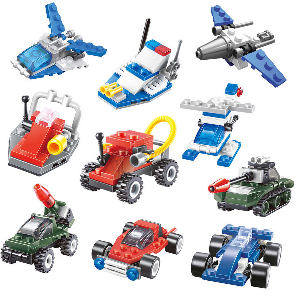 Educational Construction Building Blocks Toys For Kids 6Years DIY Gift Tank Aircraft Space Car Series Small Bricks
