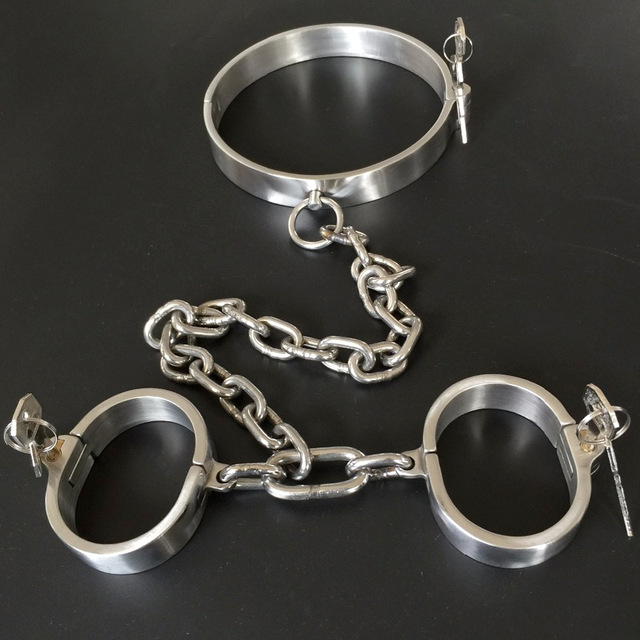 Stainlees Steel Neck Collar Chain Hand Cuffs Bondage Set Sex Games Slave BDSM tools Handcuffs Fetish Toys For Adults Restraints high quality metal m neck collar chain nipple clamps slave bdsm bondage steel collar nipple clamp games for adults sex toys