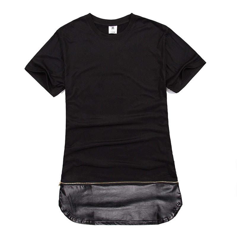 Men Gold Zipper Hip Hop T Shirt Long Streetwear Long Extended Swag T-Shirt Black /White/ Fashion Tops Tees Plus Size M-XXL