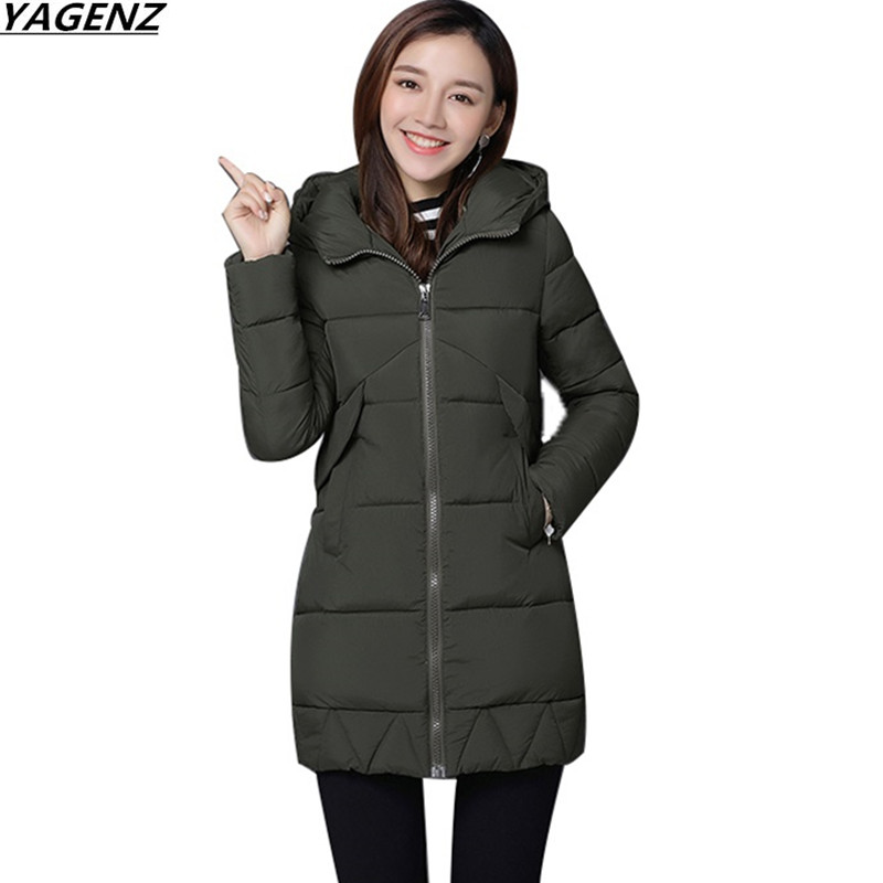 Winter Jacket Coat Women Coat Parkas Female Warm Overcoat 2017 NEW Hooded Down Cotton Jacket Plus Size Women Basic Coats YAGENZ kuyomens 2017 women winter jacket coat cotton hooded thick warm loose women basic coats bomber jacket female autumn women coat