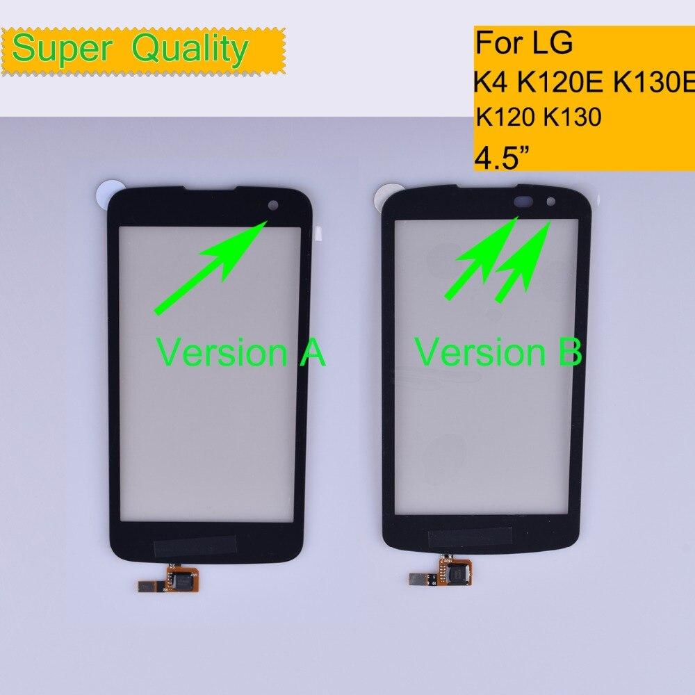 10Pcs/lot K4 For LG K4 K120 K121 K120E K130 K130E Touch Screen Touch Panel Sensor Digitizer Front Glass Outer Lens Touchscreen