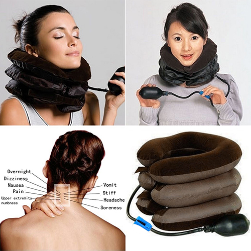 New Hot Hot Neck Stretcher Pain Relief Shoulder Tension Back Traction Adjustable Inflatable