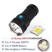 most powerful flashlight xhp70 Rechargeable 3 cree xhp70 long range flashlight 18650 hand lamp spotlight hunting lampe torche