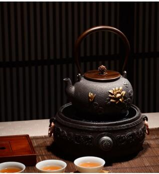 2018 nuevo estilo 1,2l olla de hierro fundido de loto olla de hierro imitación antigua olla de hierro japonés hervidor de hierro de cerdo del Sur tetera hervidor de agua - 3