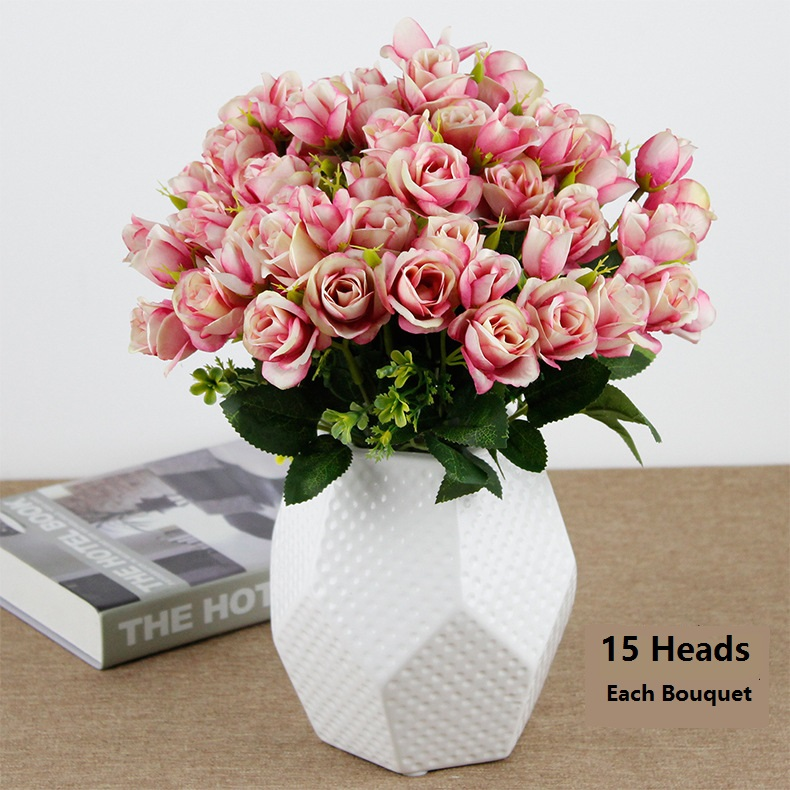 Mazzo Di Fiori Finti.Artificial Fake Flowers Plants Silk Rose Flower Arrangements