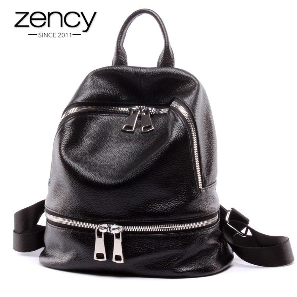 Zency Fashion 100 Genuine Leather Women s Backpacks Notebook Schoolbag For Teenage Girls Female Travel Bag