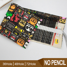 Cartoon 36/48/72 Holes Vintage Portable Canvas Roll Up Pen Case Pencil Bag Holder Storage Pouch For Painting Pen School Supplies 36 48 holes portable pencil bag roll up pencil case black canvas pencil roll up storage stationery art supply school stitionery