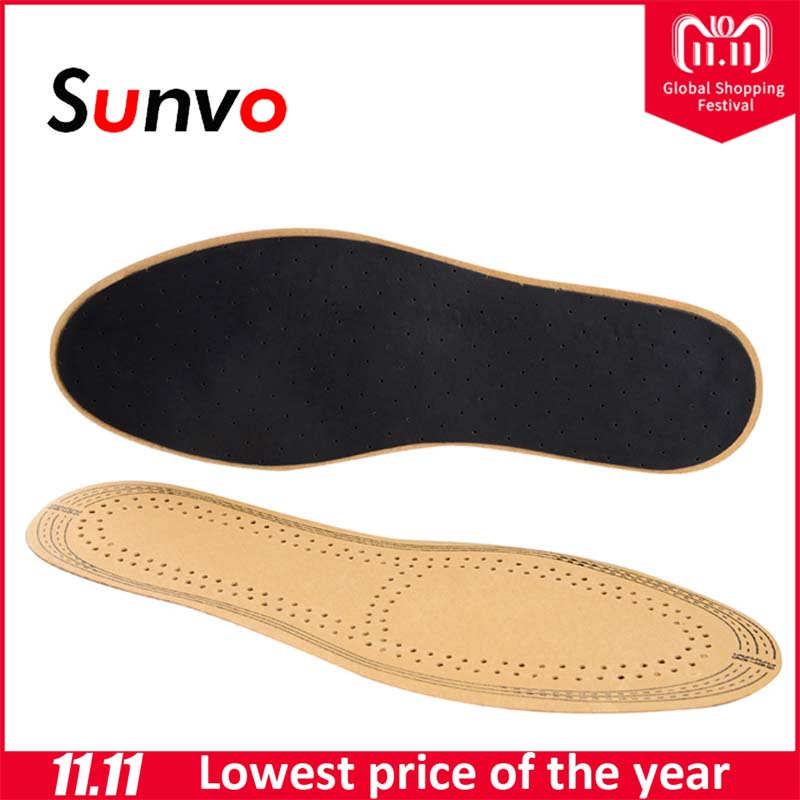 Sunvo Leather Insoles Comfort Ultra Thin Absorb Sweat Breathable Deodorant Shoes Pads for Men Women Replacement Soles Insole ultra thin cotton flock shoes pads stickers beige 10 pcs