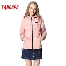 spring fashion women windbreaker basic coats pink bomber jacket pocket zipper hooded print outwear woman xl plus bog13