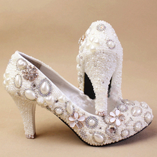 2015 Nice Handmade Woman White Imitation Pearl Wedding Dress Shoes Woman Bridal Shoes Lady Crystal Party High Heel Shoes