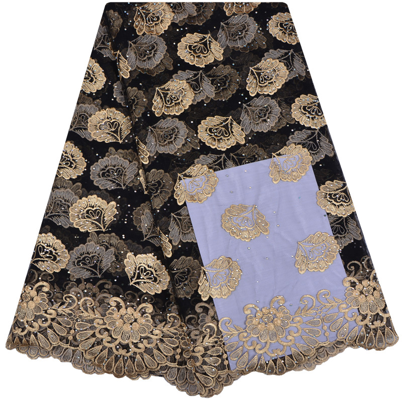 Flower Embroidered Tulle Lace Fabric With Stones High Quality Nigeria Wedding African Lace Fabric A1234