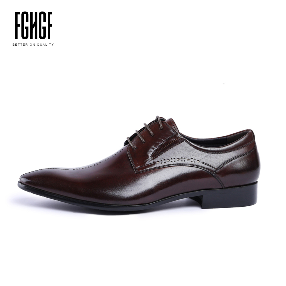 Men's Dress Shoes Genuine Leather Cowhide Leather Pig Inner Round Toe Derby Style Wedding Business Shoes 2018 New Lace-up classic men s genuine leather shoes cowhide leather pig inner pointed toe derby dress wedding business shoes 2018 fashion