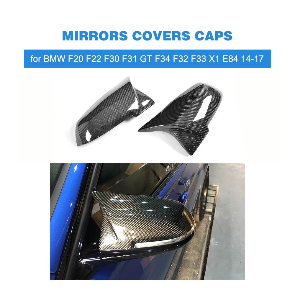 Remplacement En Fiber De carbone style Rétroviseurs Caps Couvre pour BMW F20 F22 F30 F31 GT F34 F32 F33 X1 E84 conduite à gauche 14-17