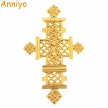 Anniyo Ethiopian Cross Brooch for Women/Men(On the Back With Pins) Gold Color Jewelry Ethnic Gifts #112106(China)