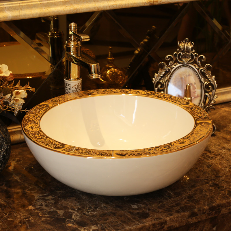 de oro de lujo lavabo sobre encimera lavabo del bao lavabo vessel fregaderos de cermica pintado