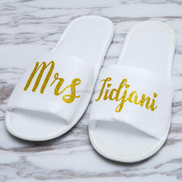983f14f1c7e2 personalized rose gold Wedding Slippers