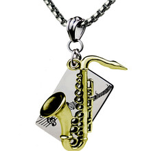 Instrument Saxophone Pendant Necklace Gold Stainless Steel Hip Hop Music Character colar masculino Fathers Day Gifts