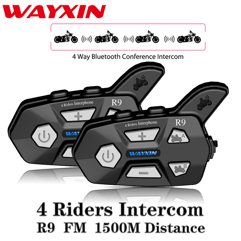 WAYXIN New Helmet Headsets R9 2Pcs Bluetooth Intercom For Motorcycle 4 Riders Talking Same Time Bluetooth Intercom FM 4 Riders