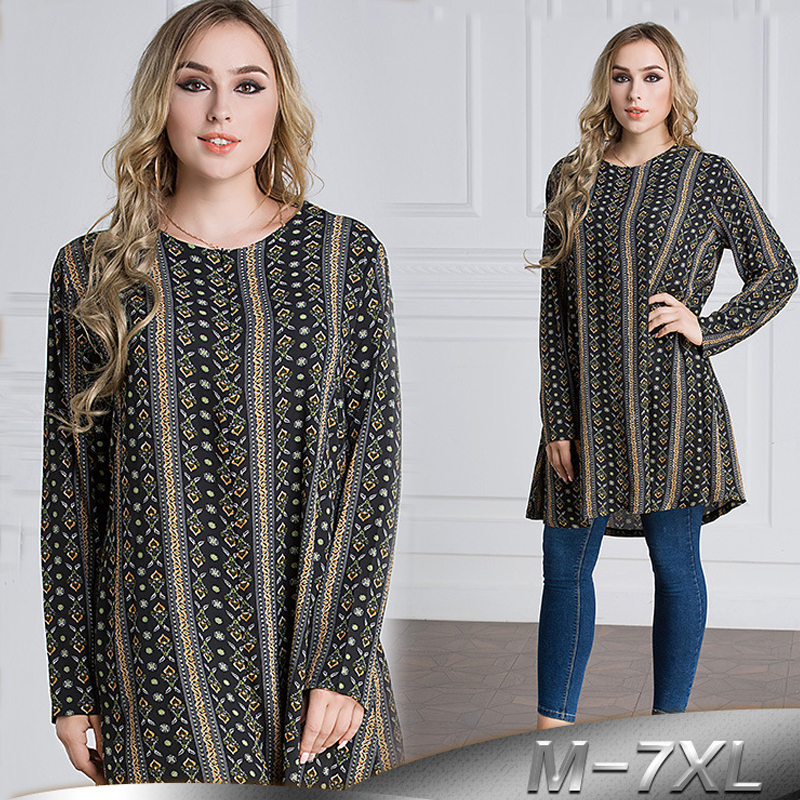 Plus Size 6XL 7XL 2019 UAE Islam Arabic Long Tops Abaya Dubai Turkey Islamic Muslim Long Sleeve Top Women Ropa Musulman Clothing