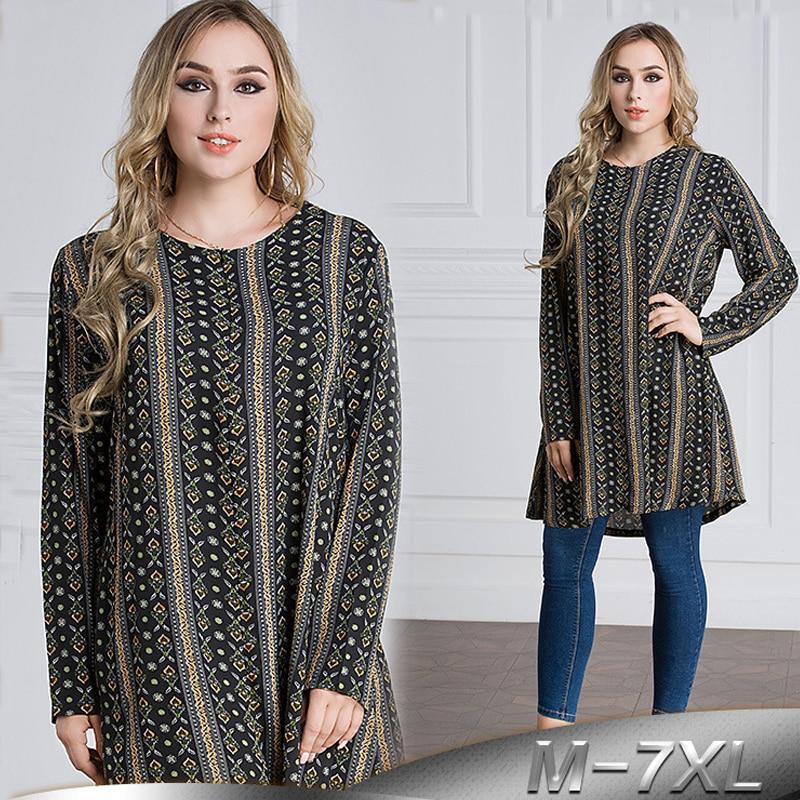 Plus Size 6XL 7XL 2019 UAE Islam Arabic Long Tops Abaya Dubai Turkey Islamic Muslim Long Sleeve Top Women Ropa Musulman Clothing