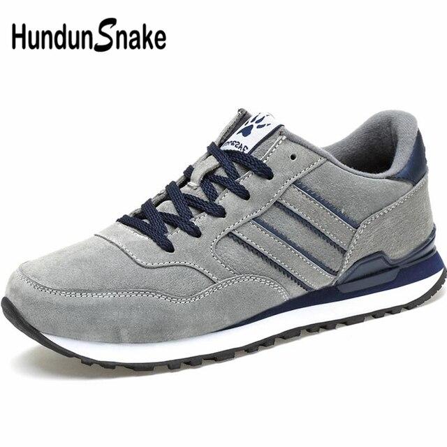 Hundunsnake Pu Leather Men'S Sneakers Male Shoes Adult For Running Shoe Sports Men Shoes Sport Krasovki Men 2019 Gray Walk A-016