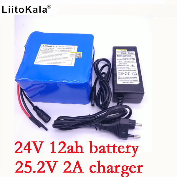 6S6P LiitoKala 24 v 12ah lithium-akku 25,2 V 12000 mah batterie li-ion für fahrrad akku 350 watt e bike 250 watt motor + 2A