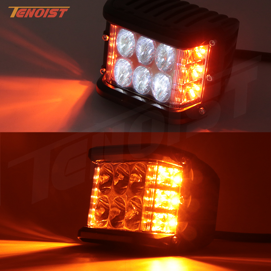 New Three In One 4 Inch LED White Amber Fog Warning Flash Work Light For Wrangler Offroad Motorcycle SUV 4*4 ATV UTV BUS 12V 24V
