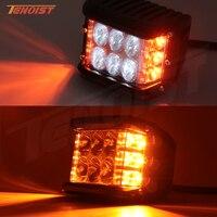 New Three In One 4 Inch LED White Amber Fog Warning Flash Work Light For Wrangler Offroad Motorcycle SUV 4*4 ATV UTV BUS 12V 24V