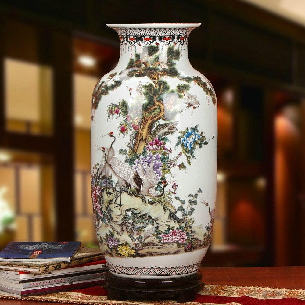 US $11.11 Antique Enamel Jingdezhen large decorative floor vases Colored  Enamel Red crowned crane Decorates Sitting Room VaseVases - AliExpress