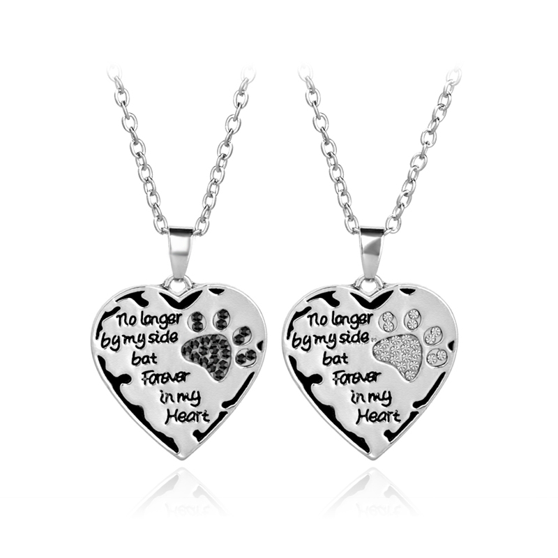 """no longer by my side bat Forever in my heart""Pet lover Necklace Fashion Heart Pendants Pet paw prints rhinestone Necklaces"