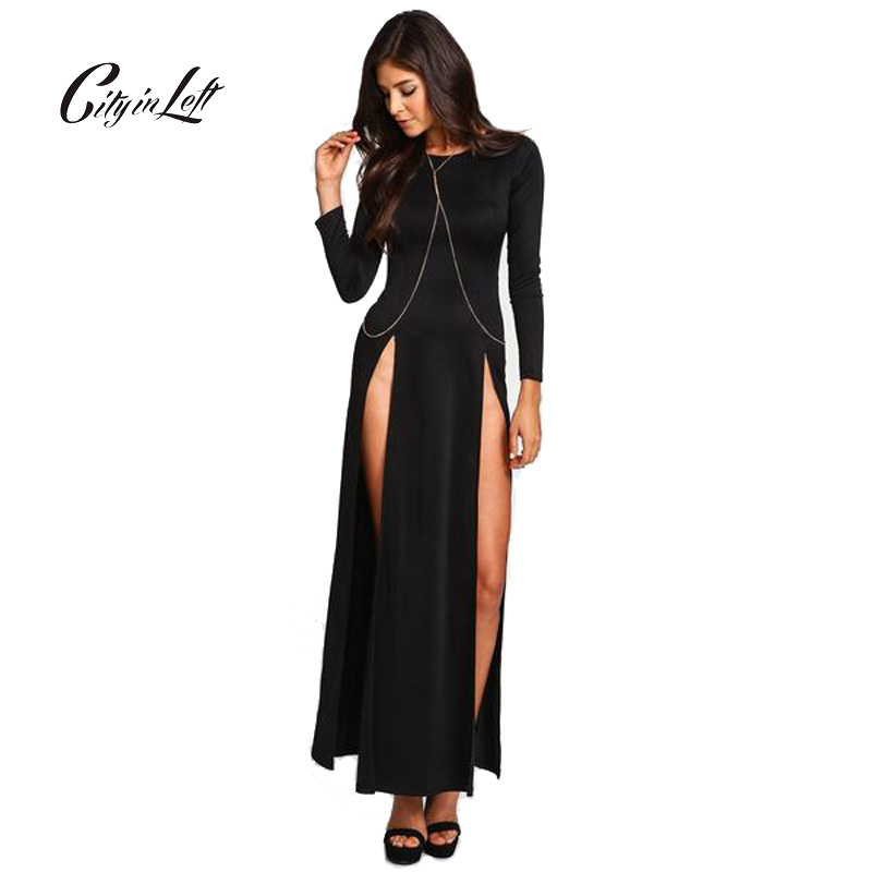 City 2018 Women Dress Sexy Club High Split Dress Long Sleeve Black Double High Slit Slim Maxi Party Dress Fashion Dress CIL465