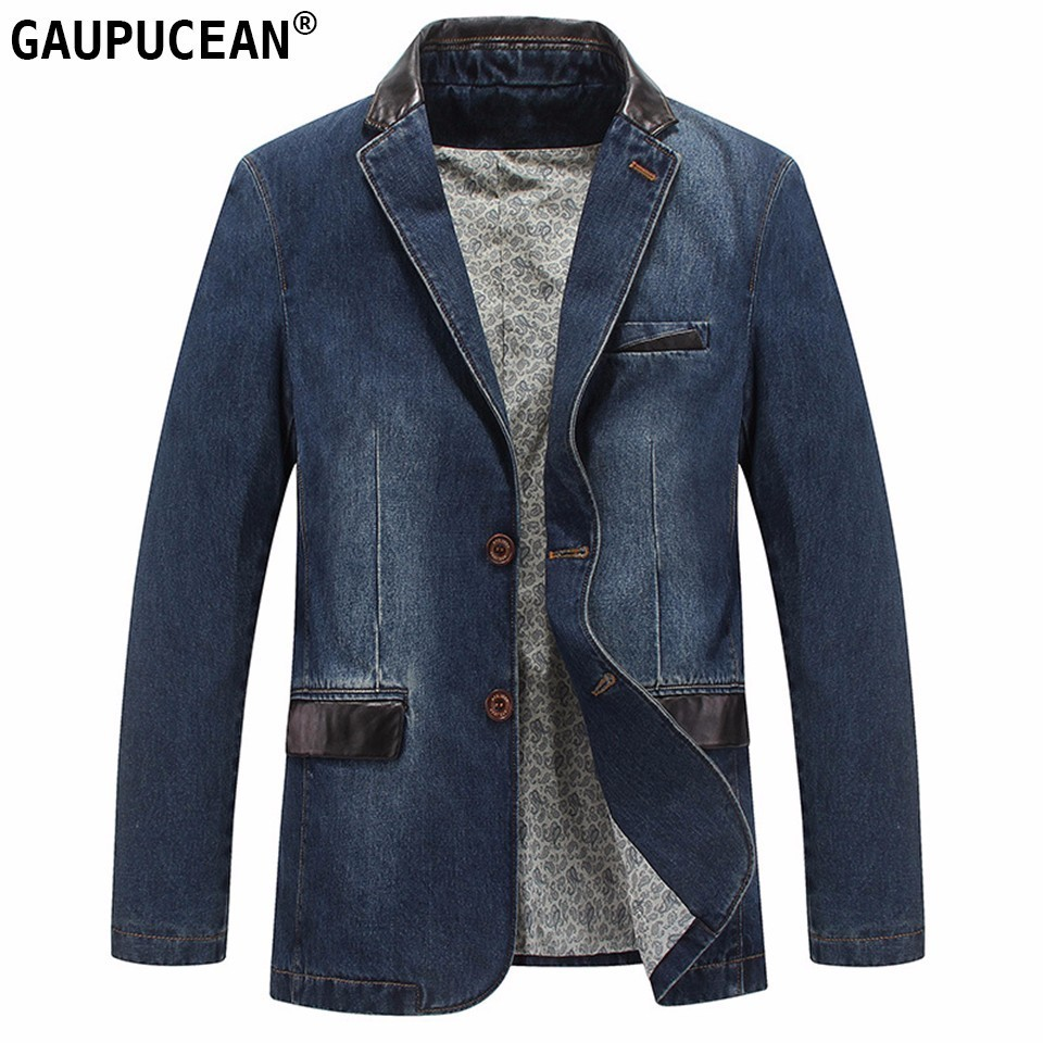 Men Denim Suit Jacket 100% Cotton Single Breasted Pockets Blue Casual Street Spring Autumn Male Outwear Slim Man Cowboy Blazer