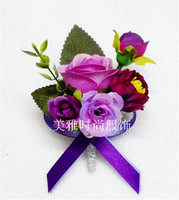 Purple1 PCS Handmade White Real Touch  Flower Corsage For Groom Groomsman Wedding Party Men Boutonniere Pin Brooches Decoration