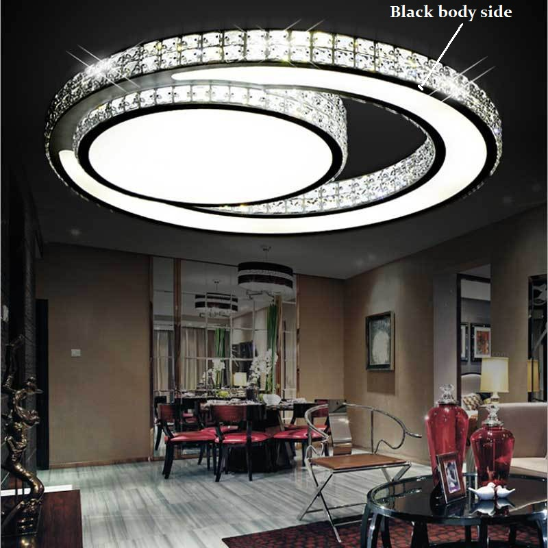 Ring Crystal Acrylic LED Ceiling Light Living room bedroom dining room home& business Dimming ceiling lamp 110-240V