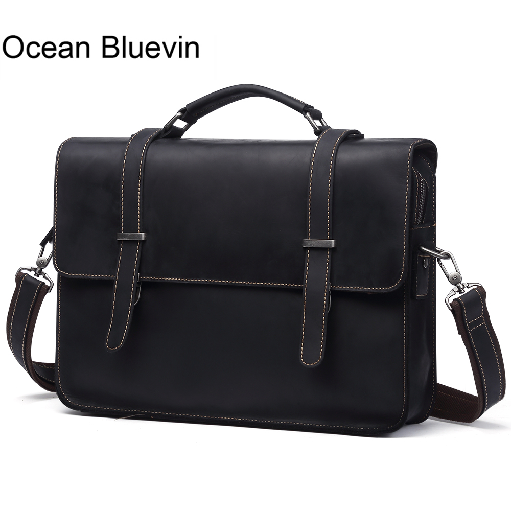 OCEAN BLUEVIN New Genuine Leather Men Bag Messenger Bag Briefcase Men Laptop Bag Leather Single Shoulder Bags for Men Handbag 100% genuine leather men bag brand designed men laptop briefcase business bag cow leather men handbag shoulder bag messenger bag