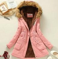 New casual long cotton coat women large fur collar lamb cashmere lacing jacket plus velvet thick loose outerwear warm Windproo