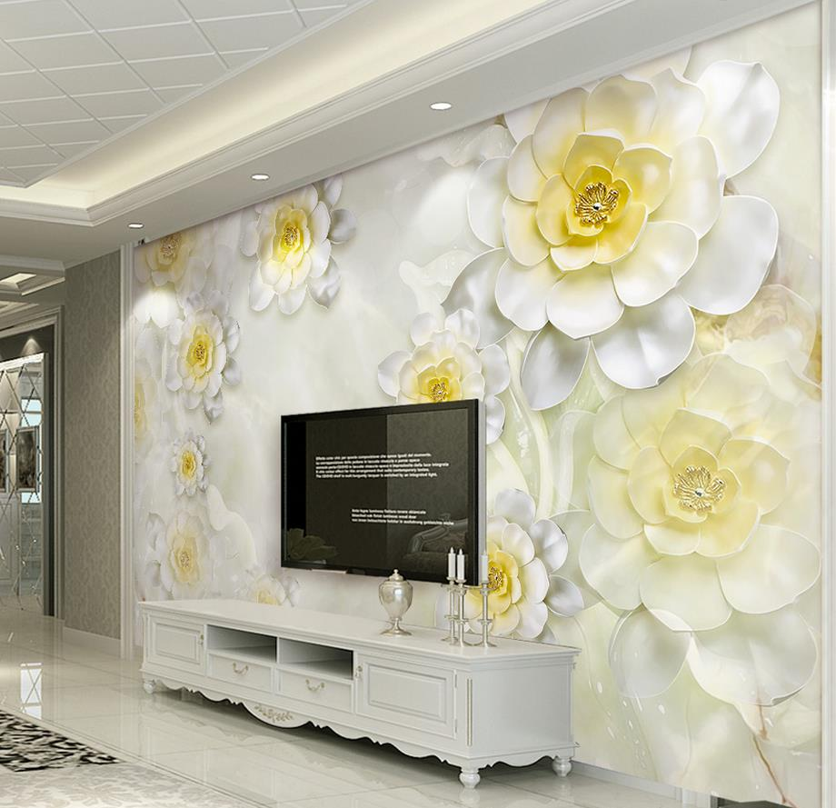 Custom 3d vinyl wallpaper fresh and beautiful flowers wallpaper ...