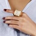 Romântico moda feminina anéis linda jóia do casamento quadrado rosto banhado a ouro micro pave configuração completa cubic zriconia tamanho 6,7, 8,9