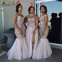 Modabelle African Bridesmaid Dresses Long Mixed Style Appliques Off Shoulder  Mermaid Prom Dress Split Side Maid 39a14286e673