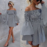 Women Ladies Clothing Dresses Summer Off Shoulder Sleeve Ruffles Striped Casual Party Mini Dress Women
