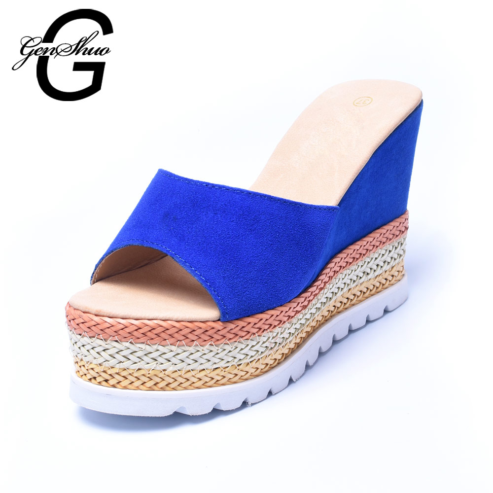 ФОТО 2017 Latest Design Wedges Sandal Candy Color Comfortable Women Sandal Geniune Leather Sandal For Spring And Summer