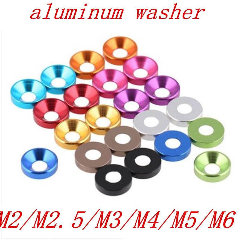 20 шт./лот алюминиевая шайба m2 m2.5 M3 M4 M5 M6 цветная анодированная потайная головка болт шайба прокладка