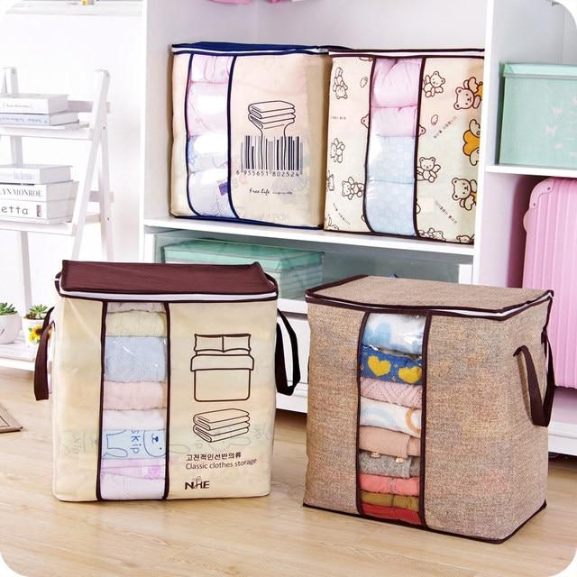 2018 New Non Woven Portable Clothes Storage Bag Organizer 45.5*51*29cm  Folding Closet Organizer For Pillow Quilt Blanket Bedding